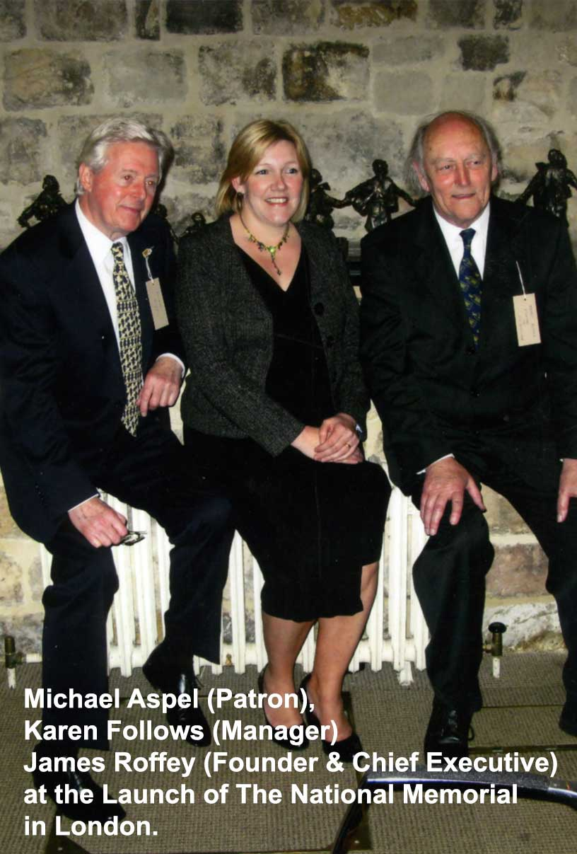 Michael Aspel, patron and former evacuee, with Karen Follows and James Roffey